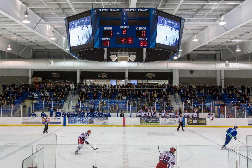 Ice hockey scoreboard at Oakville, ON