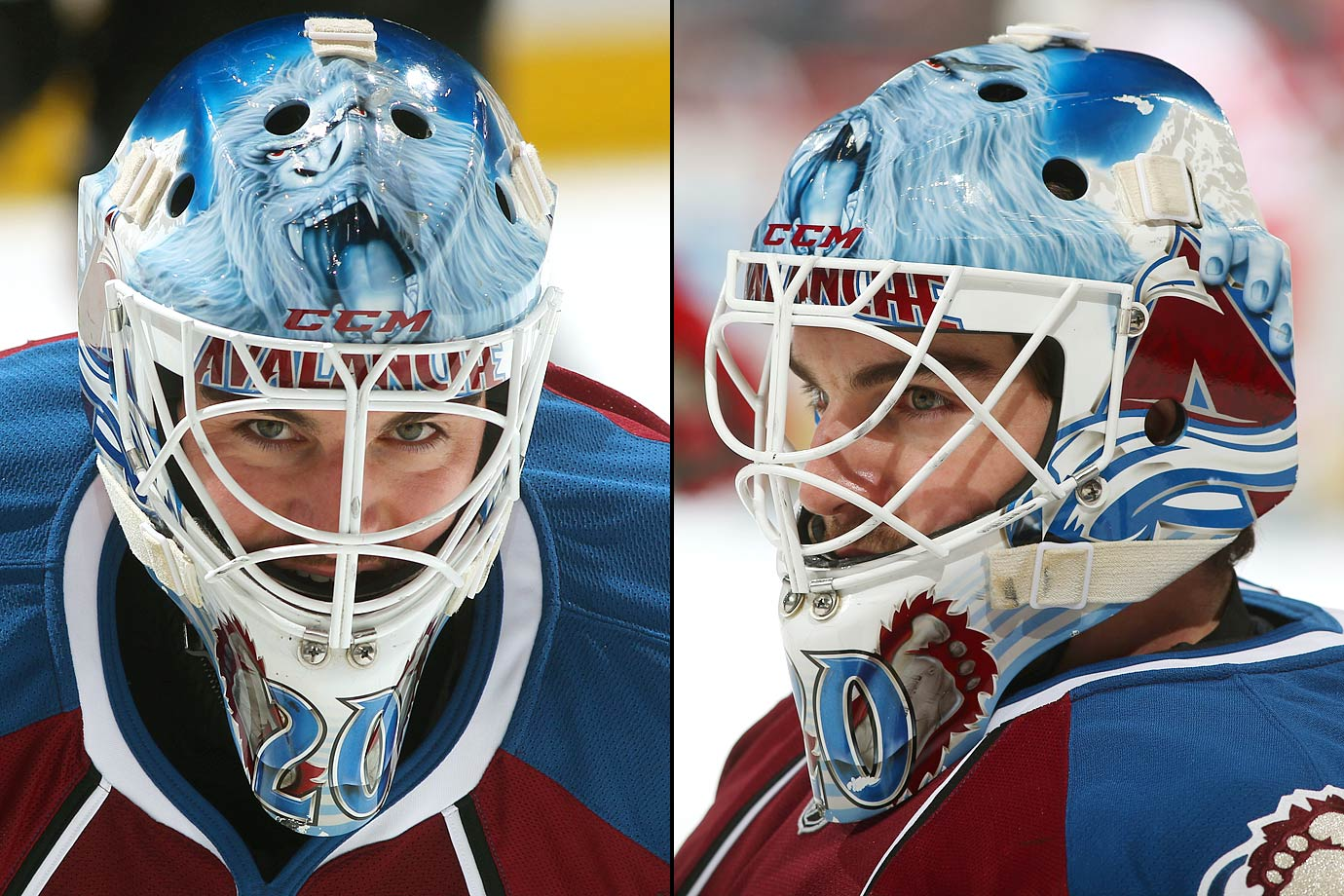 Jean Sebastien Giguere channelling his inner Yeti whenever the Colorado Avalanche wore their third jerseys in 2013.