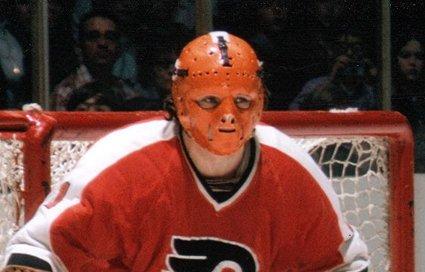 """Doug Favell's """"pumpkin"""" mask"""