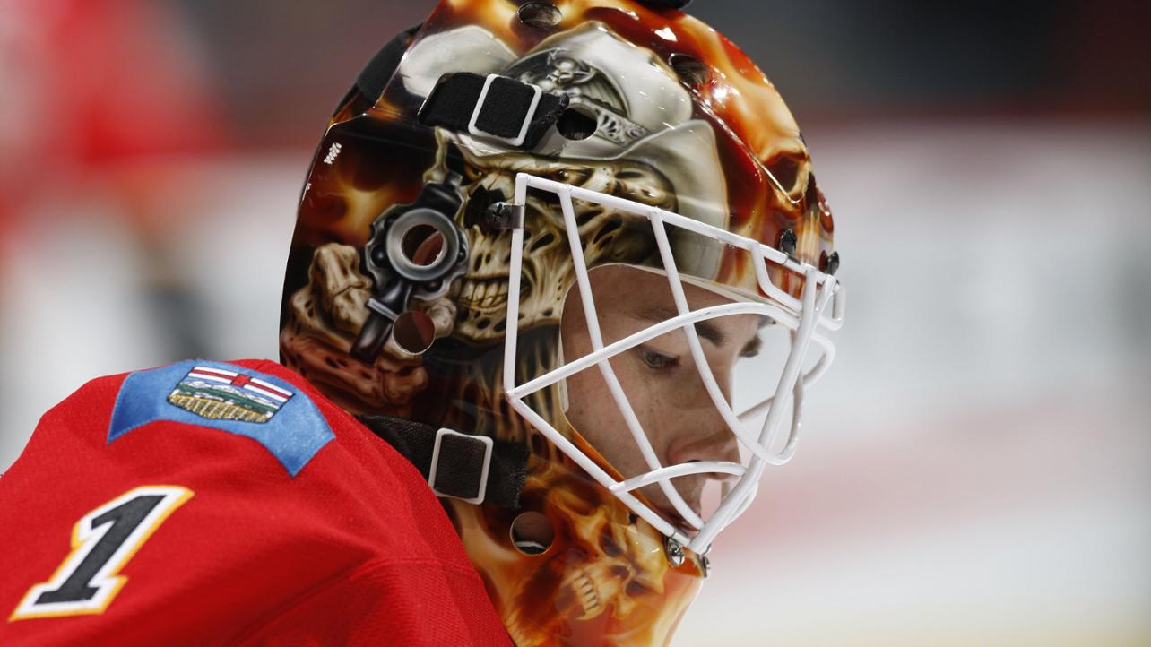 Curtis McElhinney, Calgary Flames: An undead zombie skeleton cowboy and so, so many fiery skulls