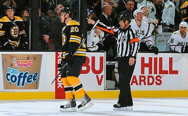 Boston Bruins Daniel Paille being sent off