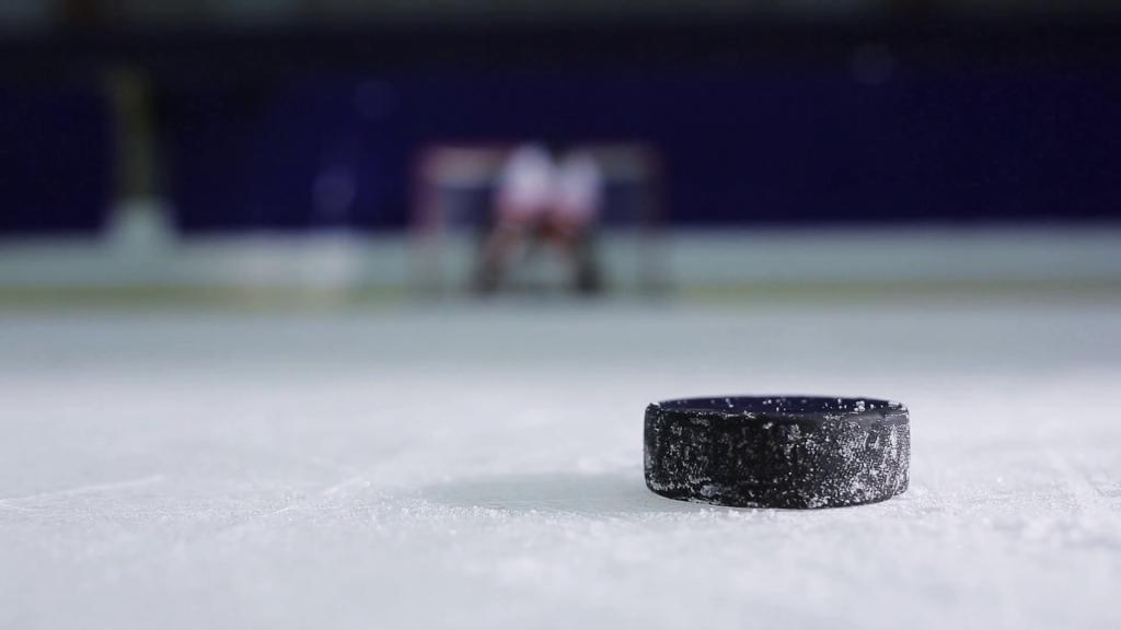 A standard 6-ounce (170 g) ice hockey puck